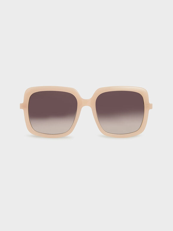 Square Acetate Sunglasses, Pink, hi-res