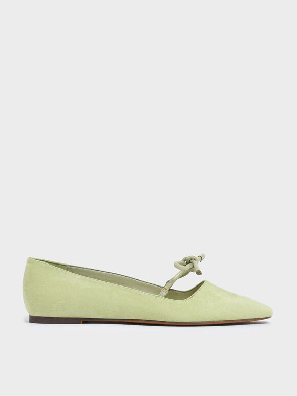Textured Mini Square Toe Bow Strap Ballerina Flats, Green, hi-res