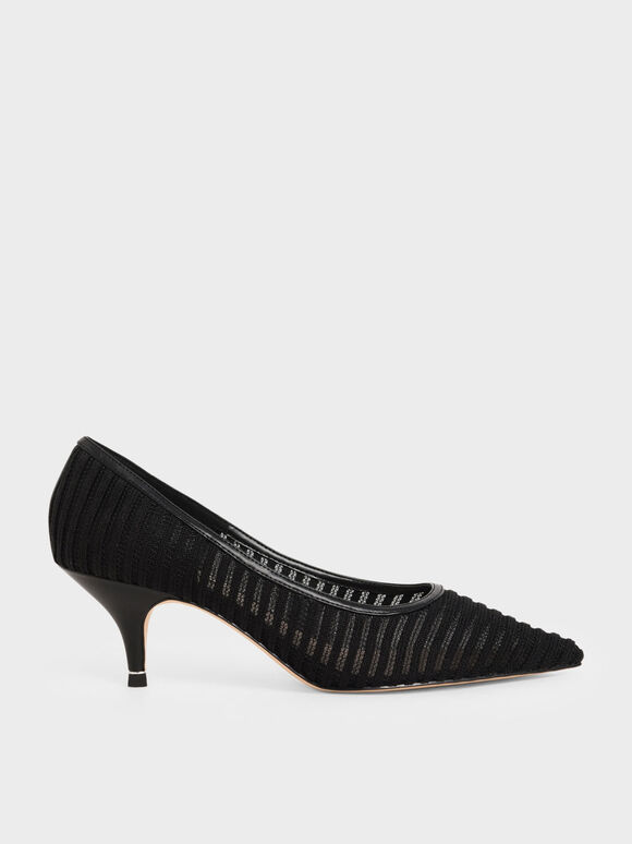 Mesh Pointed Toe Pumps, Black, hi-res
