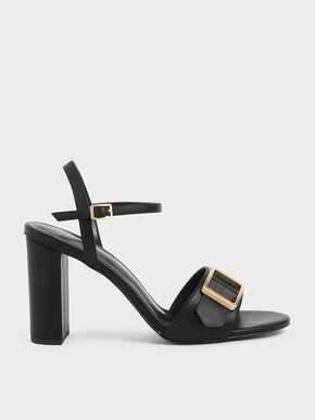 Frame Buckle Chunky Heel Sandals, Black