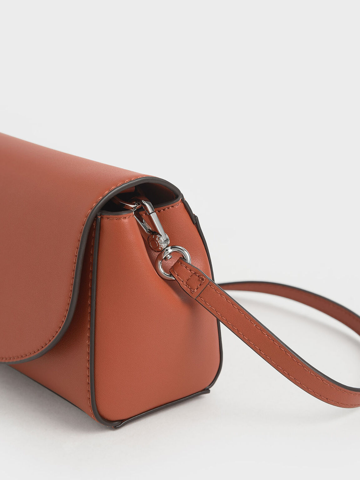 Chunky Chain Handle Mini Shoulder Bag, Brick, hi-res