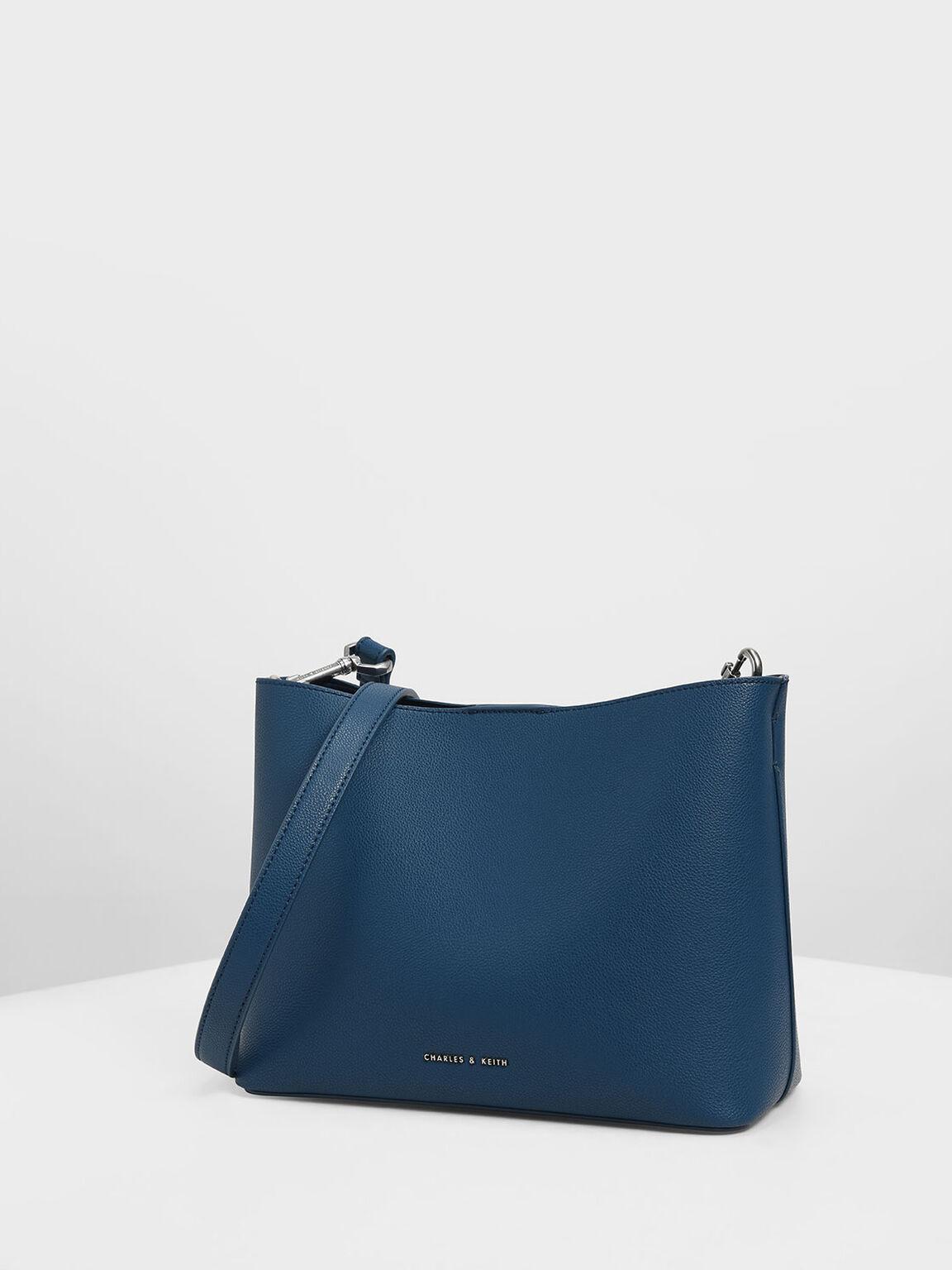 Chunky Chain Handle Bucket Bag, Dark Blue, hi-res