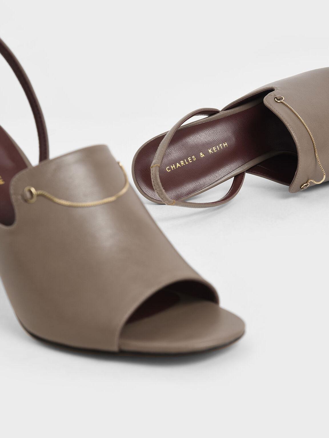 Chain Link Slingback Heels, Taupe, hi-res