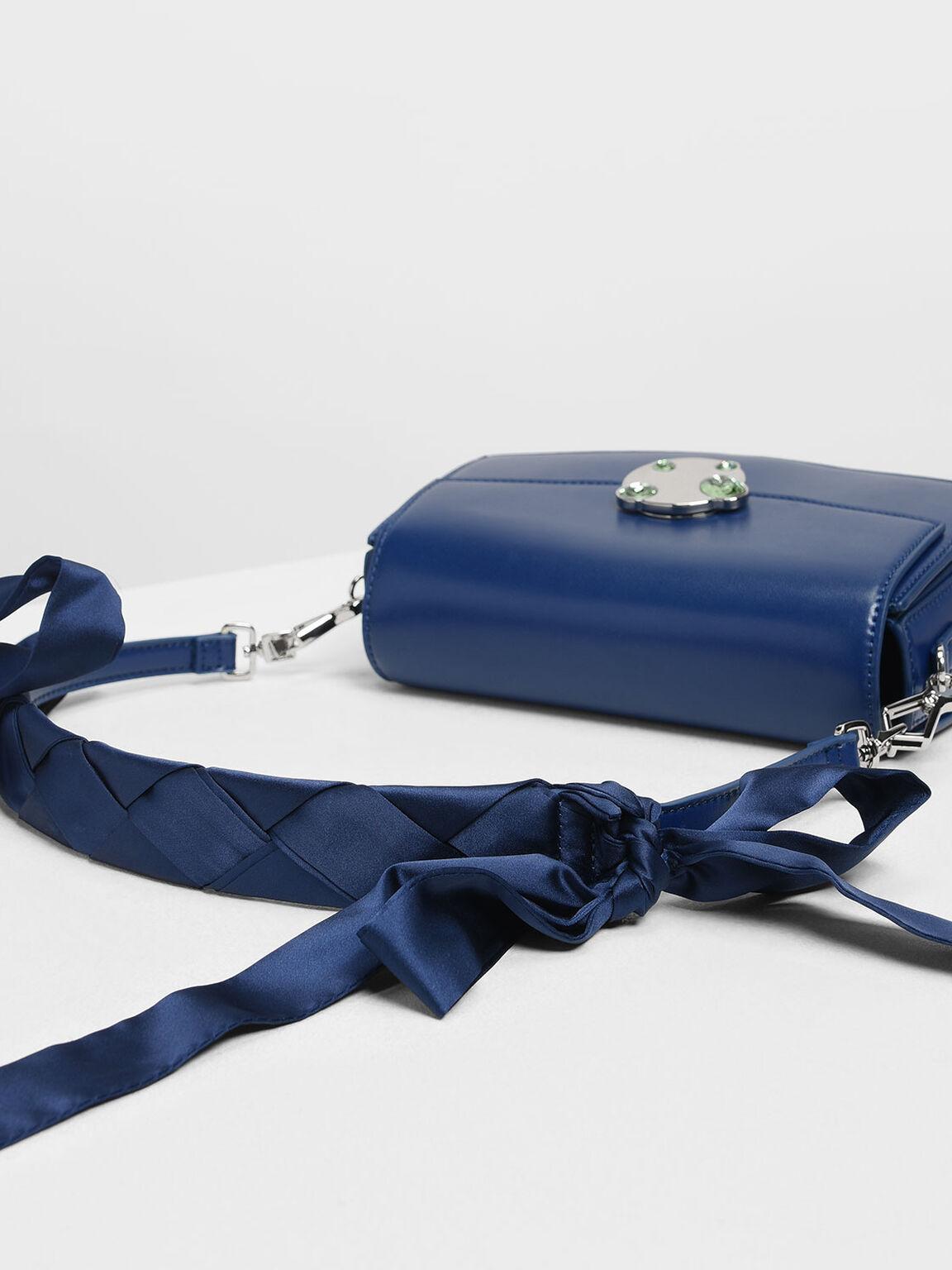 寶石扣環肩背包, 深藍色, hi-res