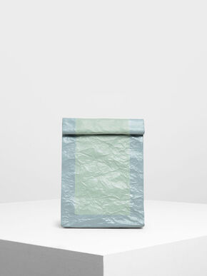 Paper Bag Clutch, Mint Green