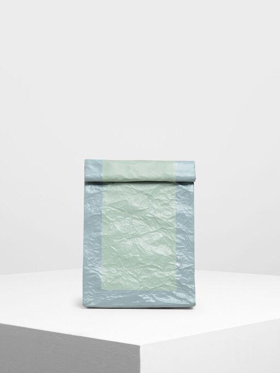 Paper Bag Clutch, Mint Green