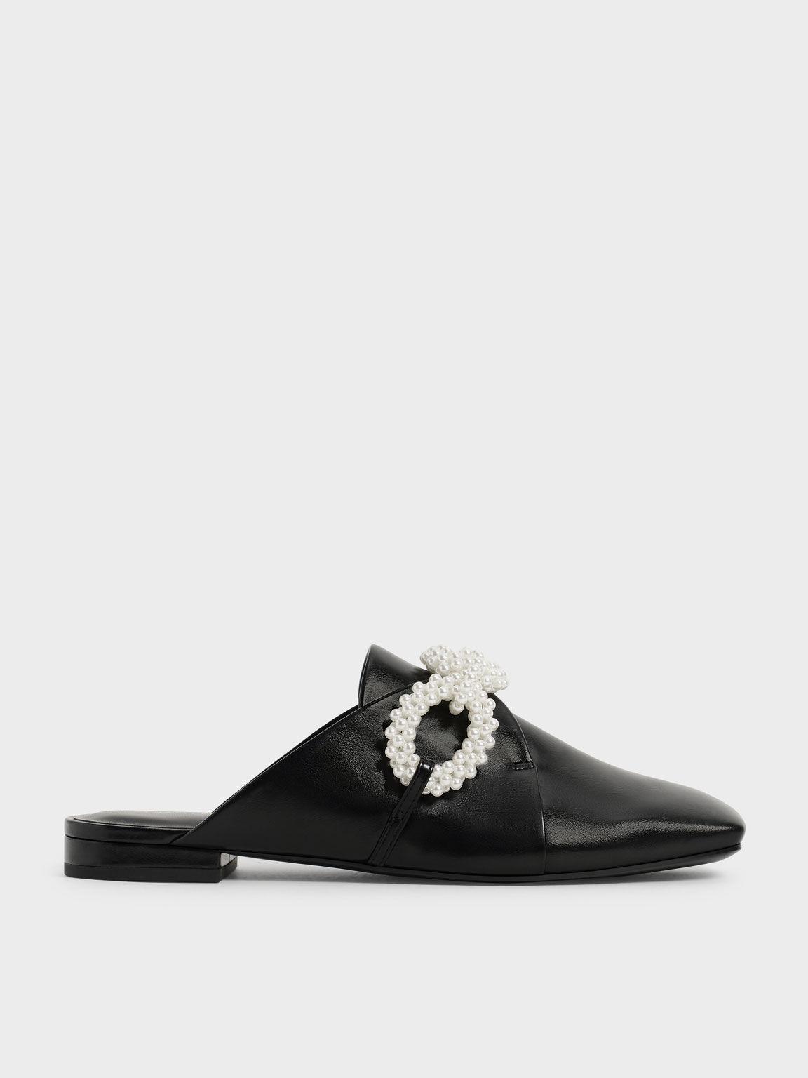 Perline Beaded Loafer Mules, Black, hi-res