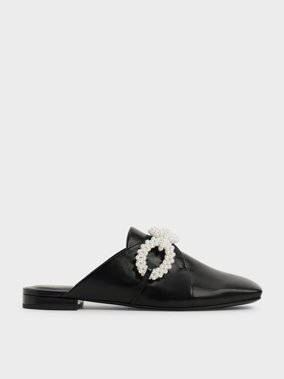 Perline 珍珠飾鍊穆勒鞋, 黑色, hi-res