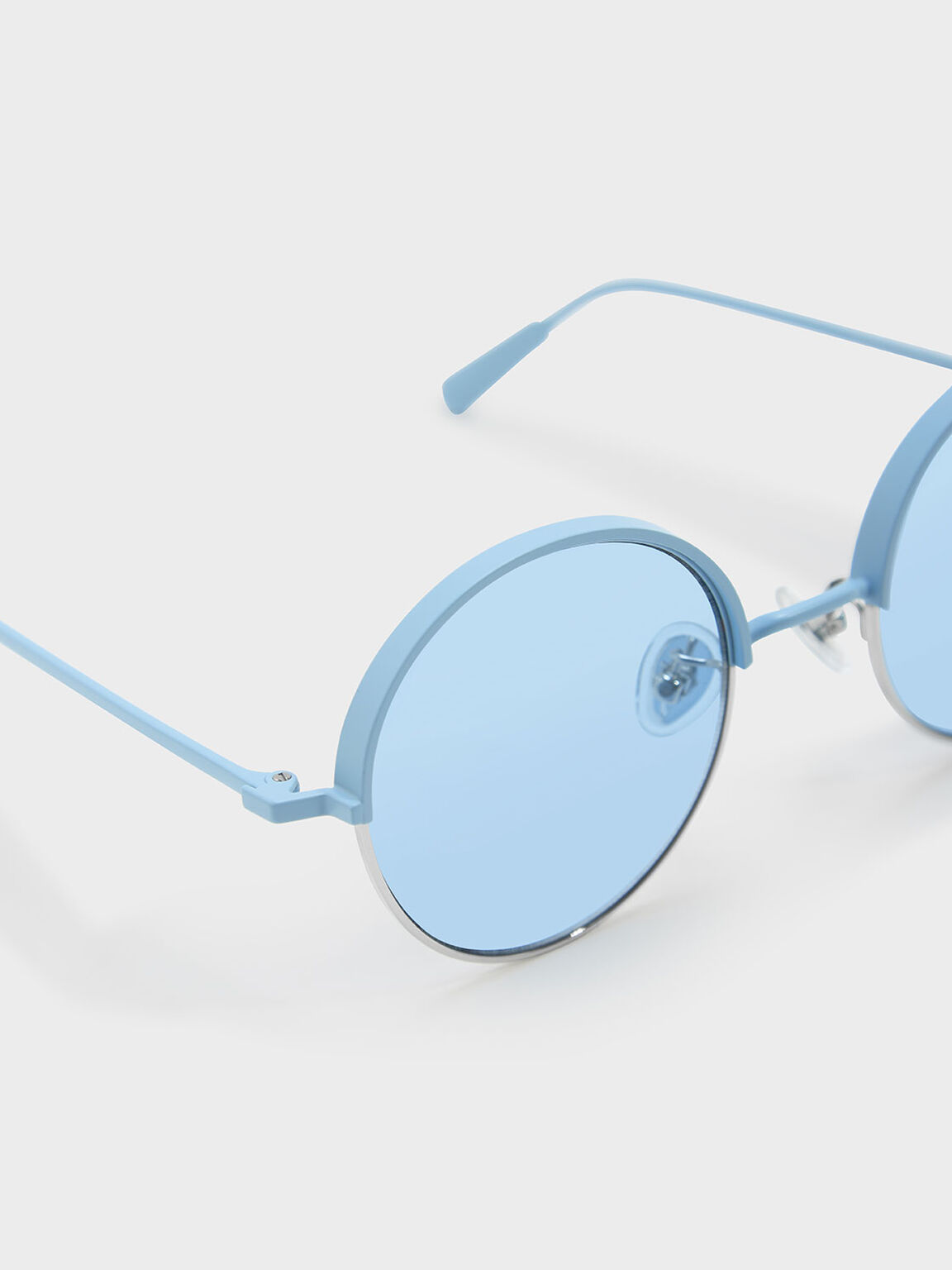 Metal Half Frame Sunglasses, Blue, hi-res