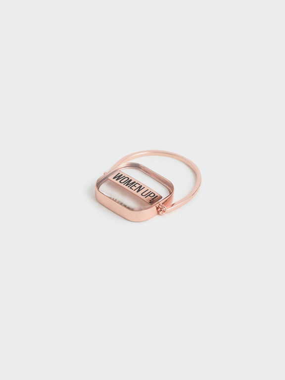 "WOMEN UP!"" Acrylic Ring"", Rose Gold, hi-res"