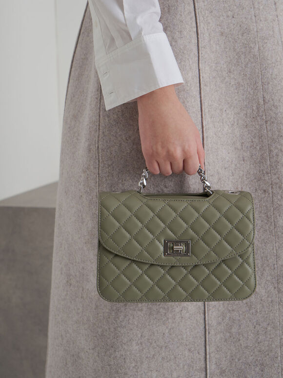 Quilted Turn-Lock Clutch, Sage Green, hi-res