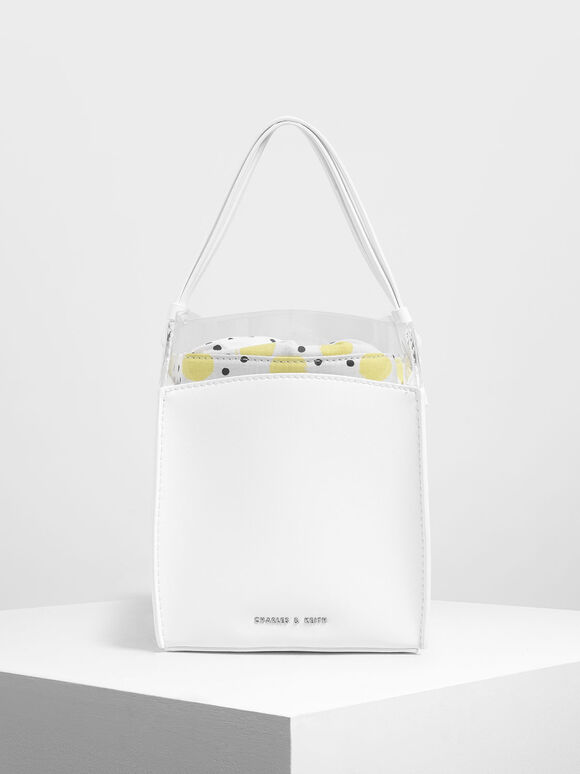 Polka-Dot Print Bucket Bag, White, hi-res