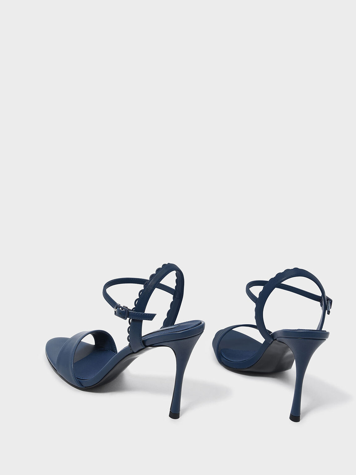 Scallop Edge Detail Heeled Sandals, Blue, hi-res