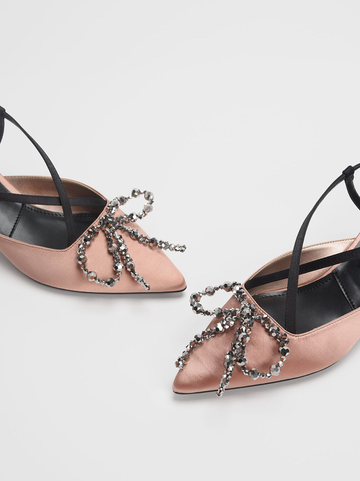 Beaded Bow Satin & Leather Slingback Heels, Blush, hi-res