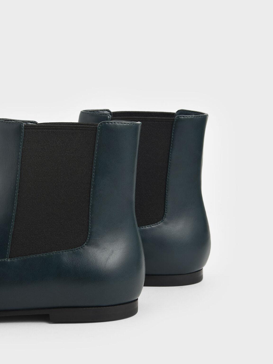 Metallic Knot Accent Chelsea Boots, Green, hi-res