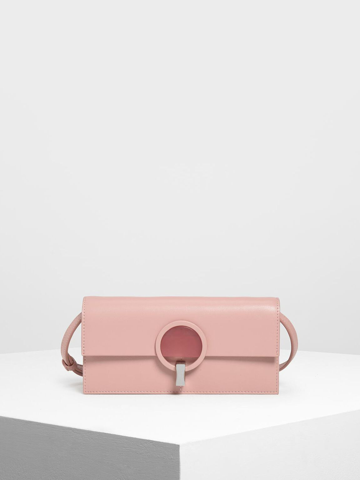 Ring Turn Lock Wallet, Pink, hi-res