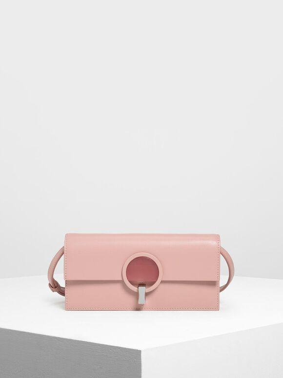 圓環造型扣長夾, 粉紅色, hi-res