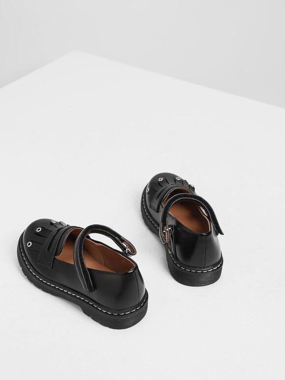 Kids' Fringe Loafers, Black, hi-res