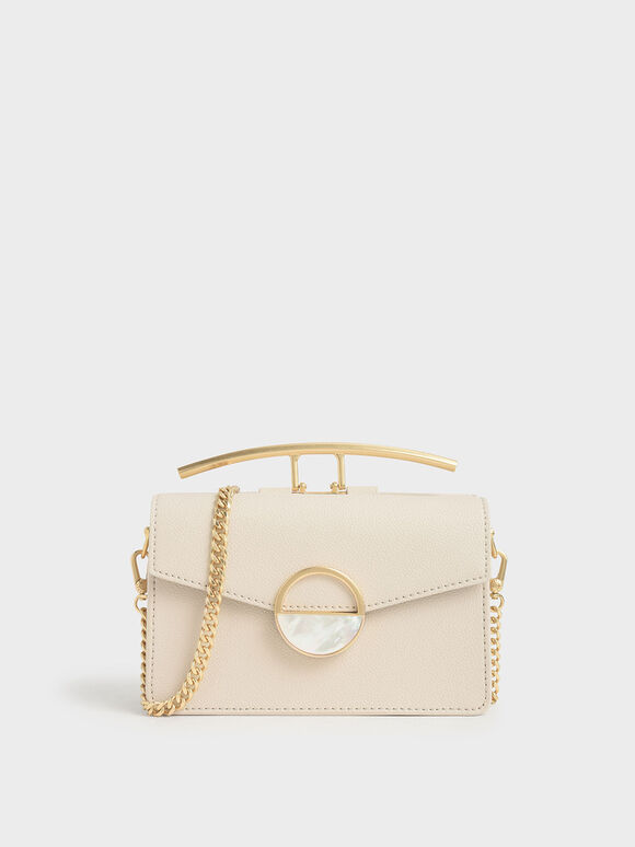 Stone Embellished-Buckle Shoulder Bag, Cream, hi-res