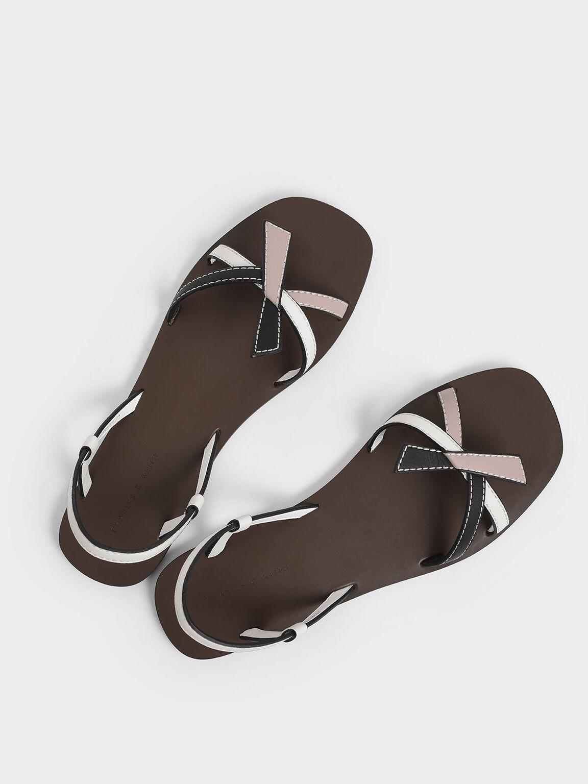 Front Knot Tie Slingback Sandals, Multi, hi-res