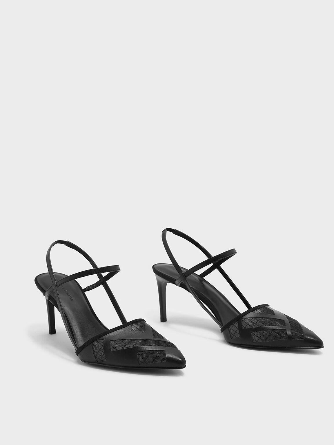 Mesh T-Bar Slingback Heels, Black, hi-res