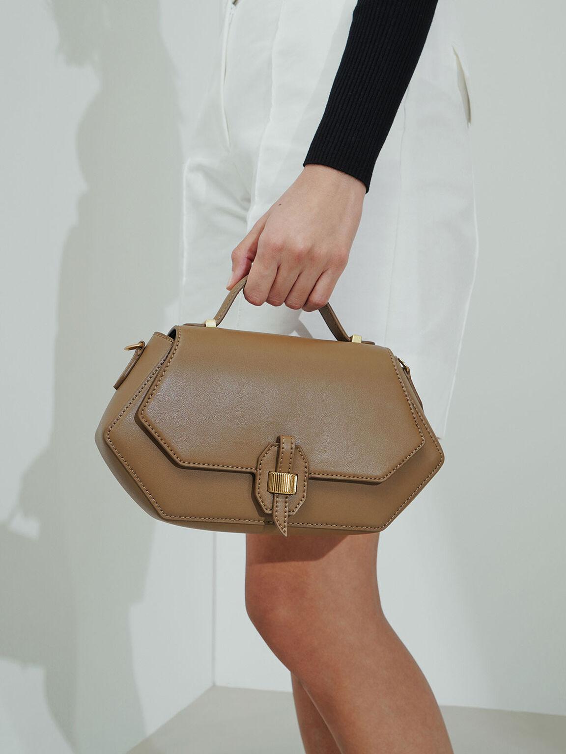 Top Handle Geometric Bag, Khaki, hi-res