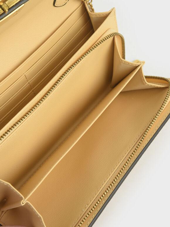 Stone-Embellished Mini Long Wallet, Yellow, hi-res