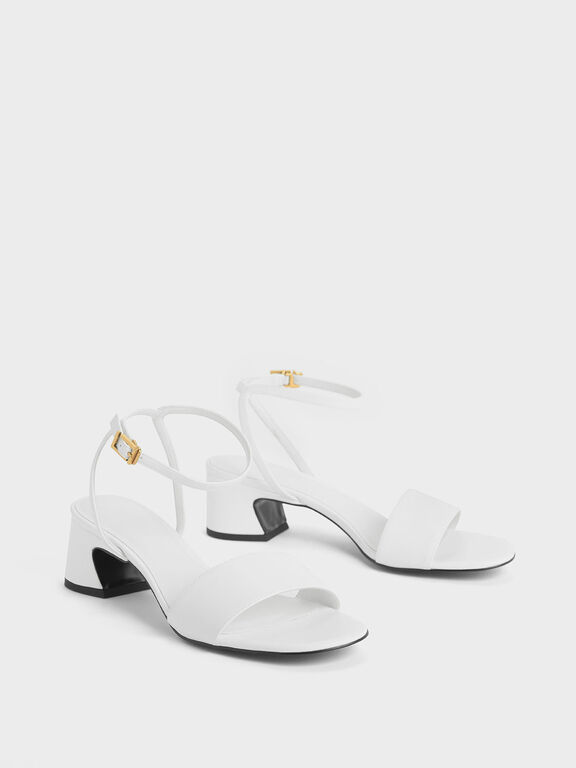 Curved Block Heel Ankle Strap Sandals, White