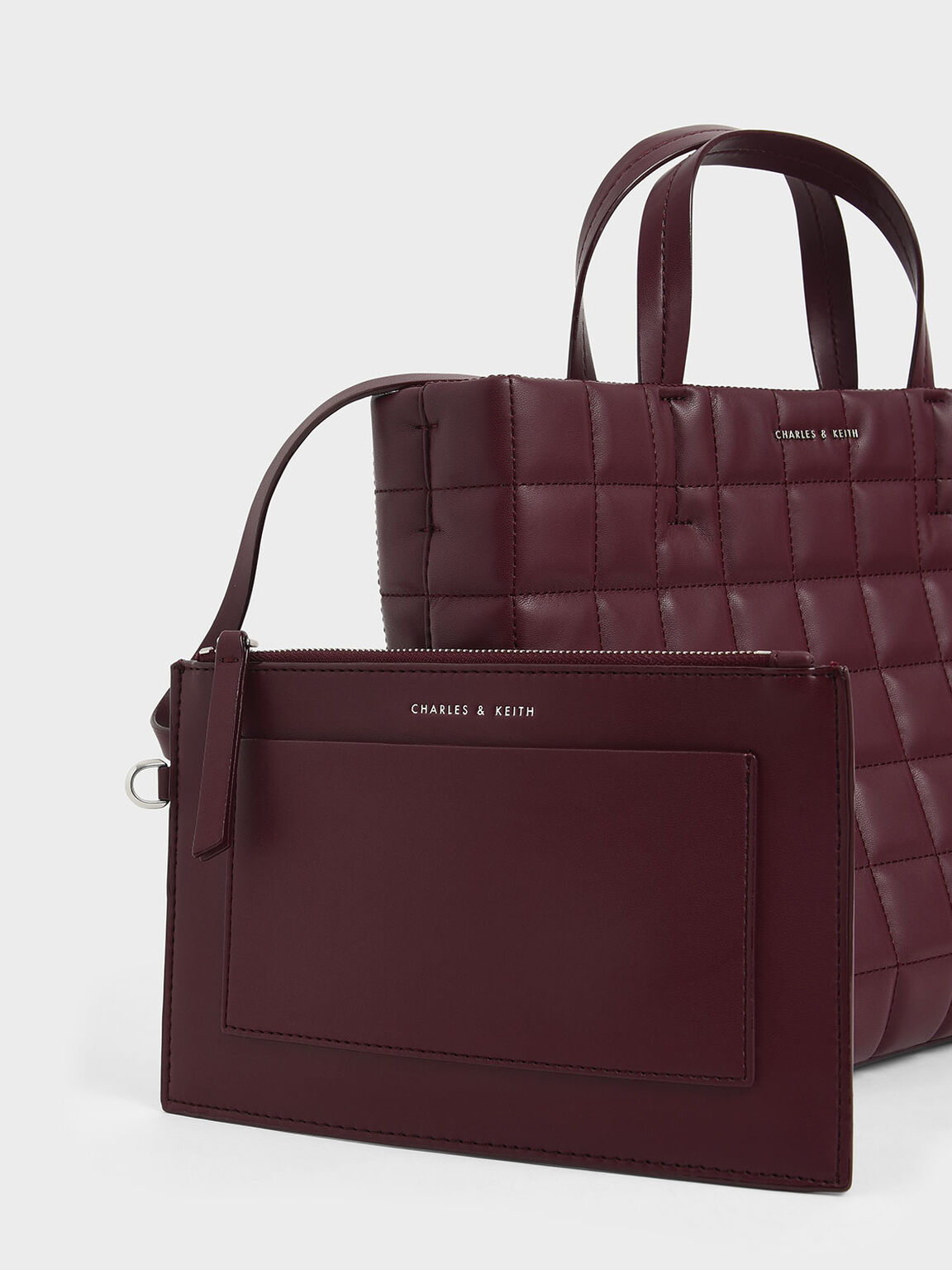 Quilted Short Strap Tote Bag, Burgundy, hi-res