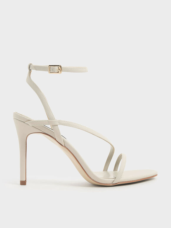 Strappy Stiletto Heel Sandals, Chalk, hi-res