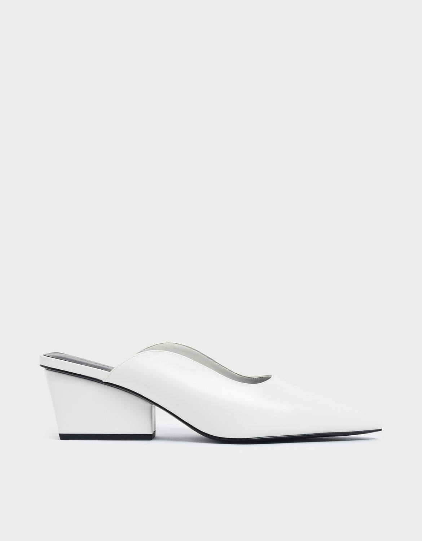 White Pointed Toe Wedge Heel Mules