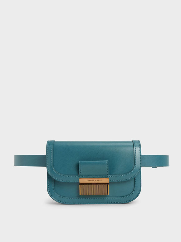 Metallic Push-Lock Front Flap Bag, Turquoise, hi-res