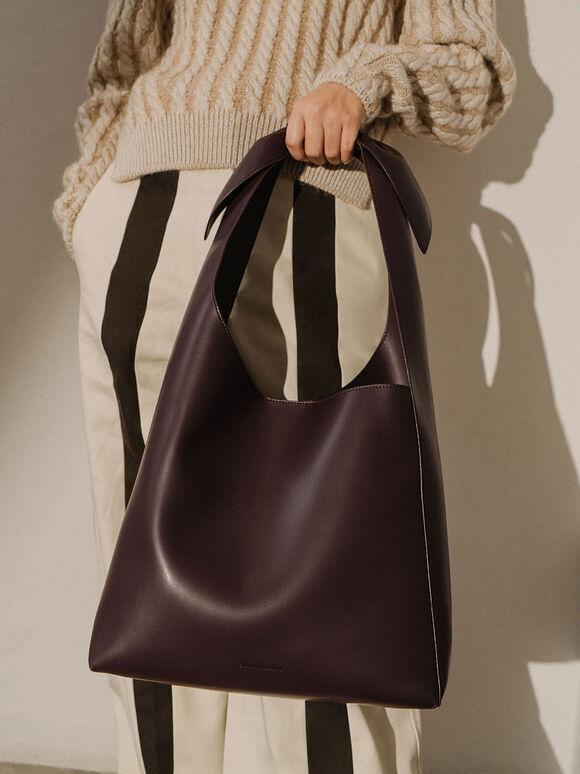 Knotted Handle Hobo Bag, Dark Brown, hi-res