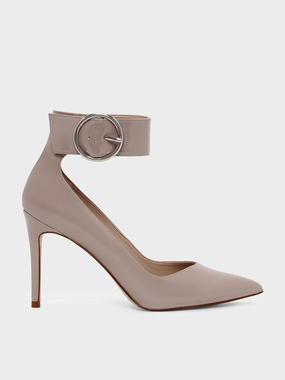 Ankle Strap Pointed Pumps, Nude, hi-res