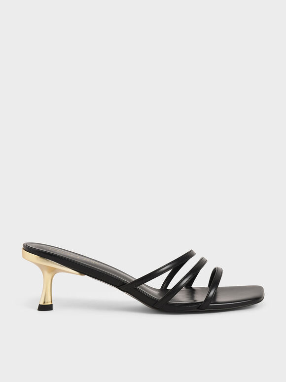 Strappy Mules, Black, hi-res