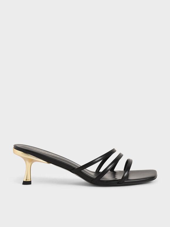 不對稱細帶拖鞋, 黑色, hi-res