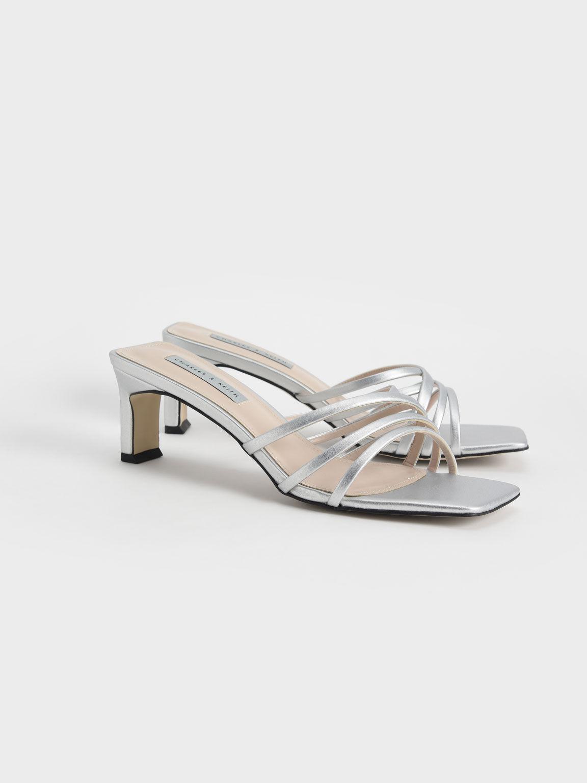 Asymmetric Strappy Sandals, Silver, hi-res