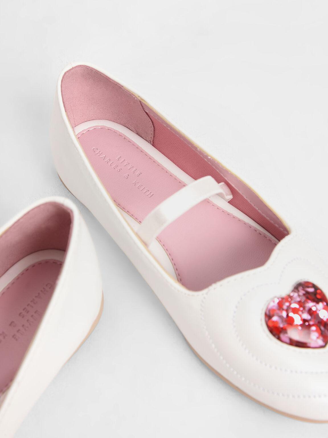 Girls' Sequin Heart Ballerina Flats, White, hi-res