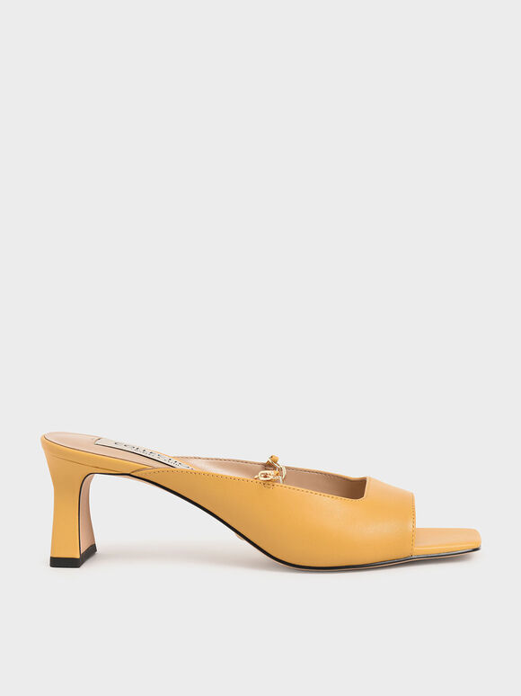 Leather Chain Link Mules, Yellow, hi-res