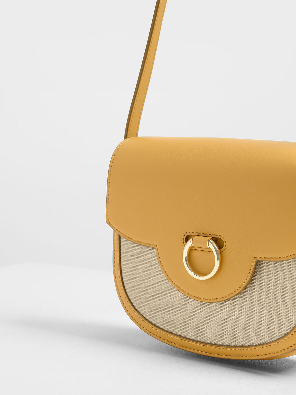 Ring Buckle Saddle Crossbody Bag, Mustard, hi-res