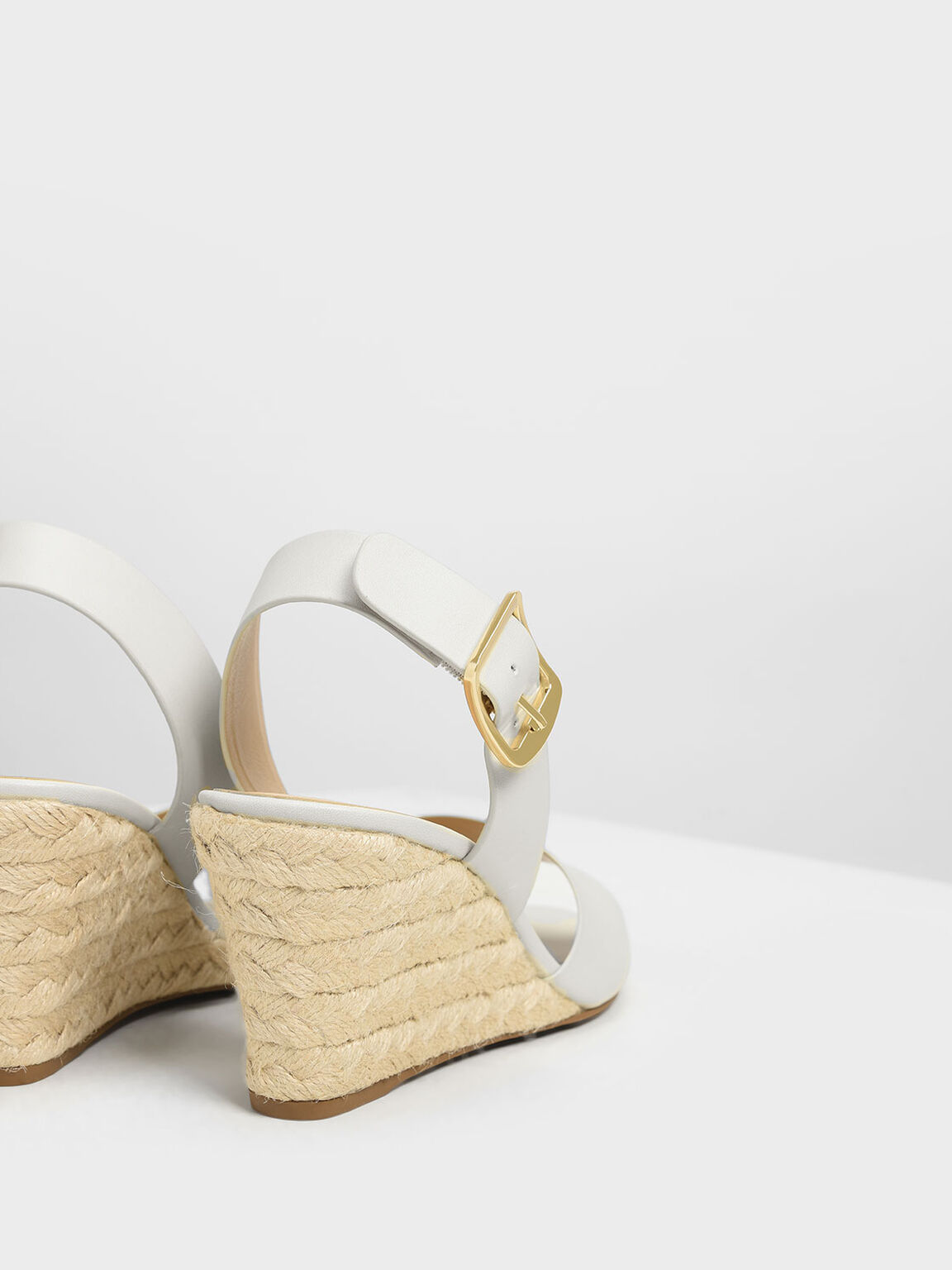 Chunky Buckle Espadrille Wedges, Chalk, hi-res