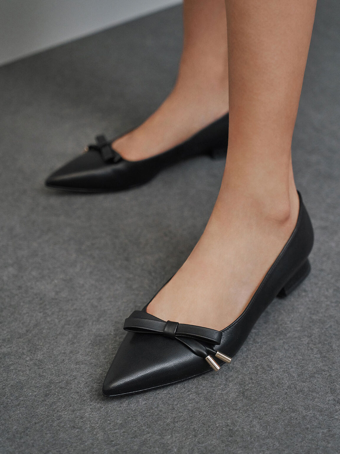Leather Bow Ballerina Flats, Black, hi-res