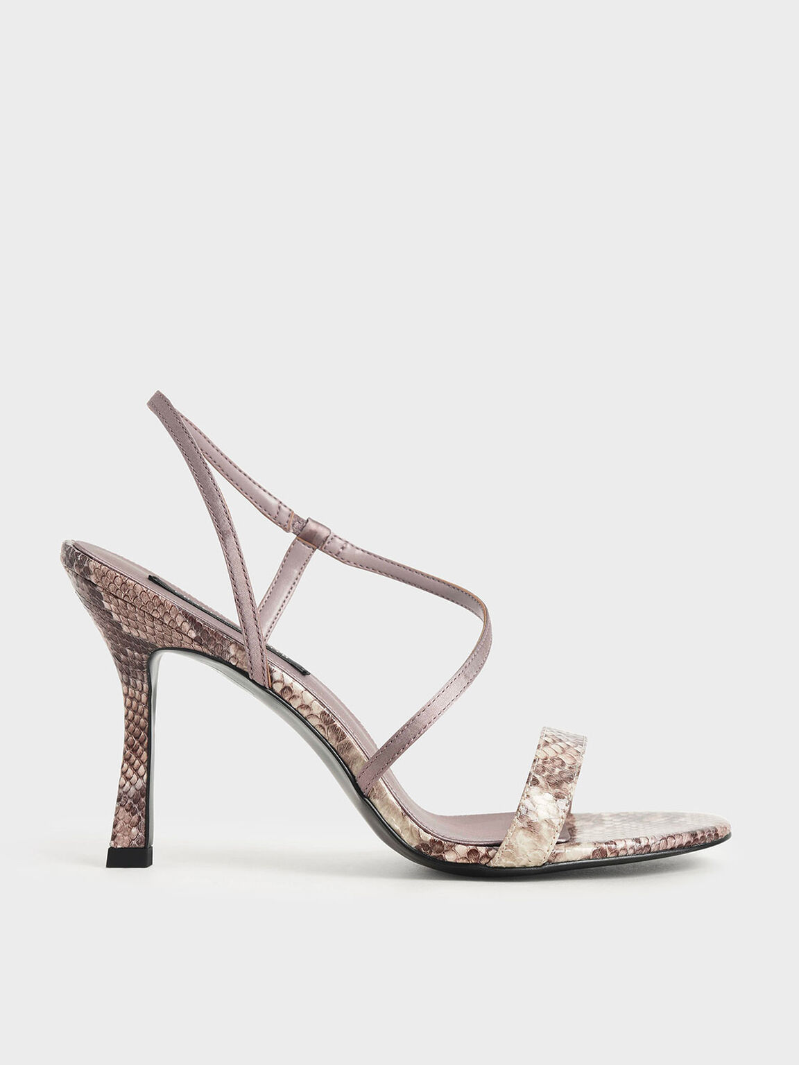 Snake Print Asymmetric Strap Heeled Sandals, Animal Print Natural, hi-res