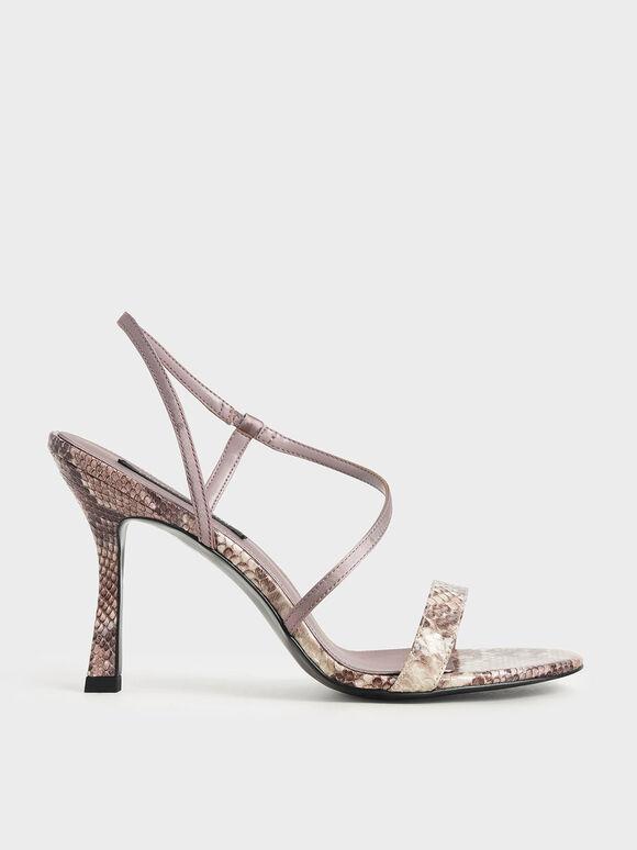 Snake Print Asymmetric Strap Heeled Sandals, Animal Print Natural, hi-res