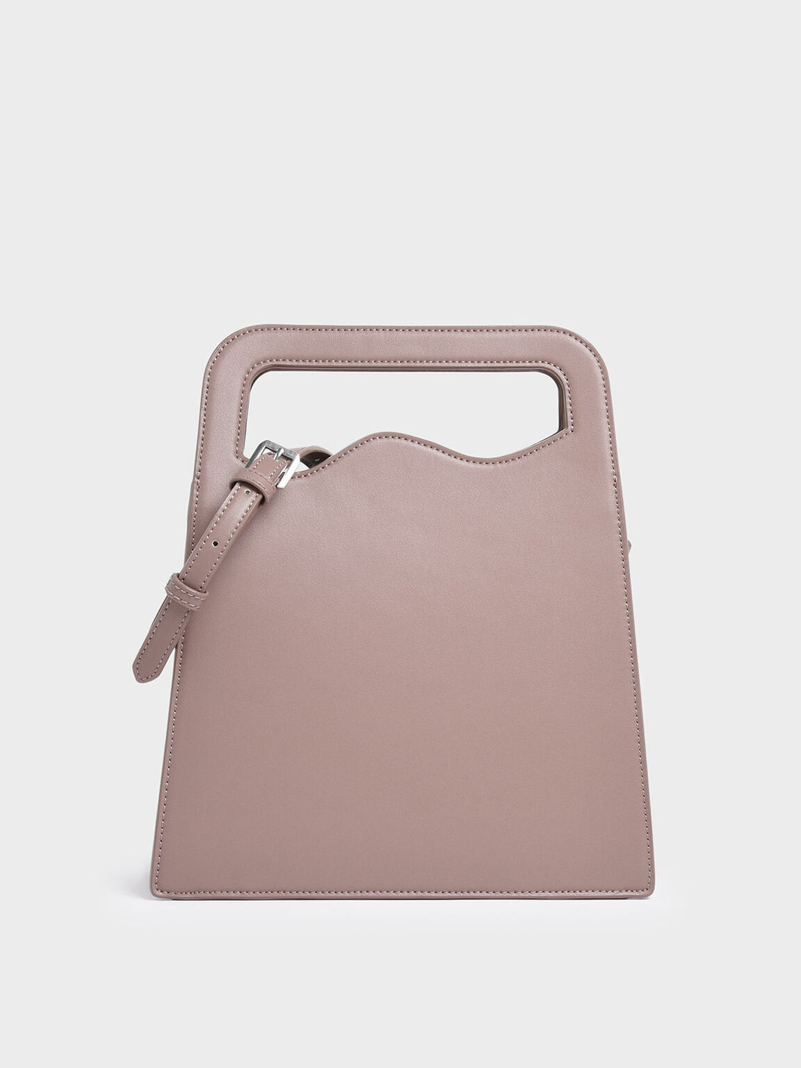 Asymmetric-Cut Top Handle Tote Bag, Pink, hi-res