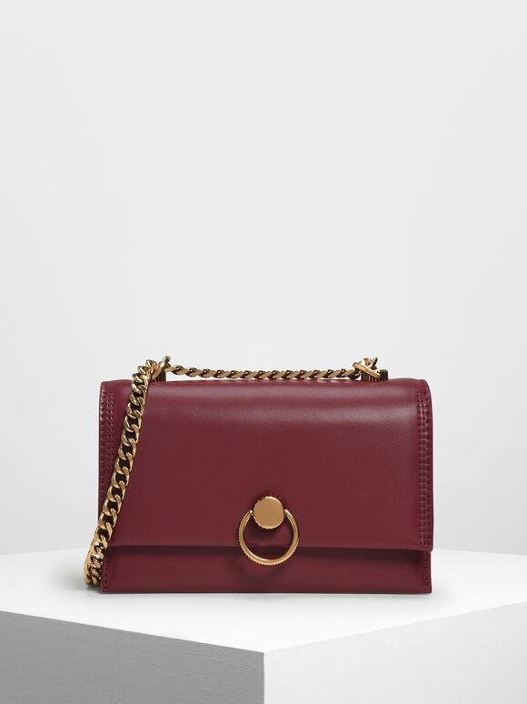 Chain & Strap Push Lock Shoulder Bag, Prune, hi-res