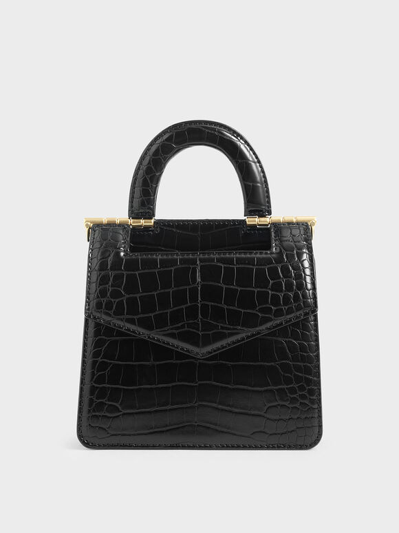 Mini Croc-Effect Envelope Bag, Black, hi-res