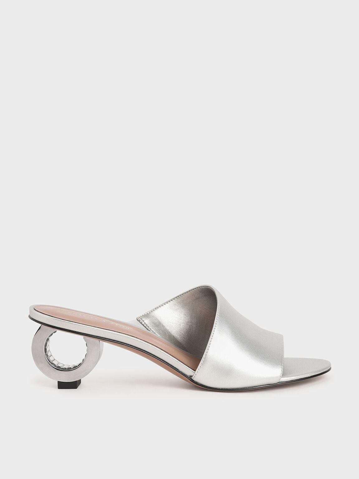 Metallic Sculptural Heel Mules, Silver, hi-res