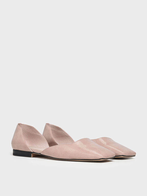 Square Toe D'Orsay Flats, Nude