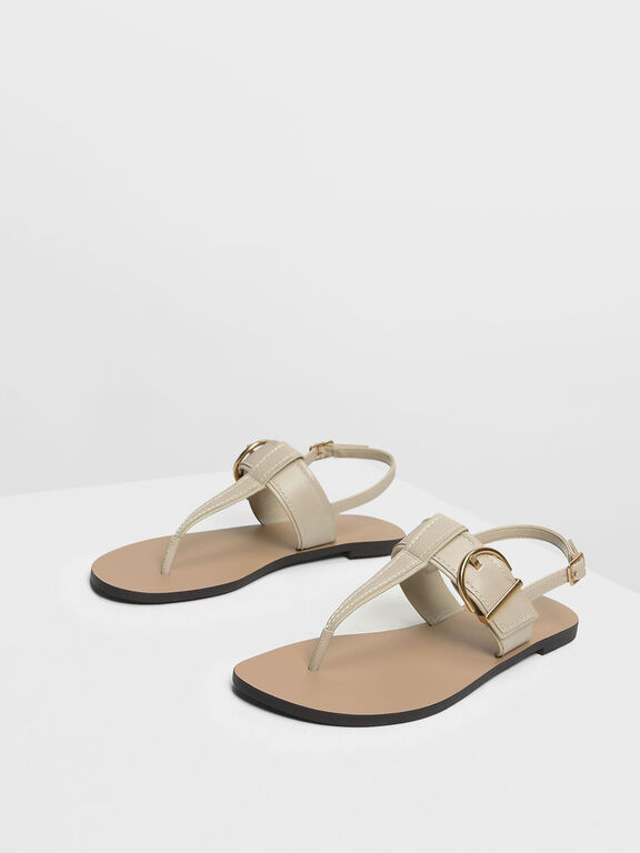 Buckle T-Bar Sandals, Chalk
